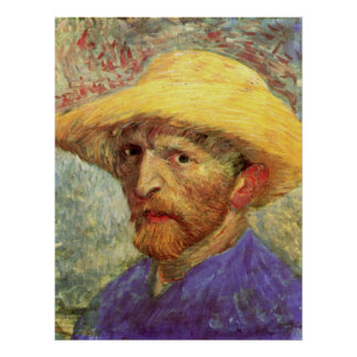 Self-Portrait with Straw Hat by Vincent van Gogh Poster