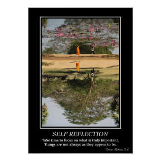 Self Reflection Poster - Monk in Angkor Wat
