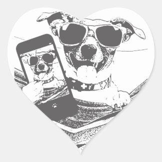 selfie dogs heart sticker