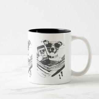 selfie dogs Two-Tone coffee mug