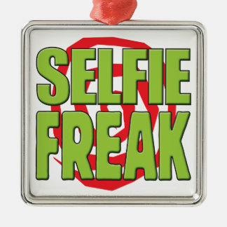 Selfie Freak G Silver-Colored Square Ornament