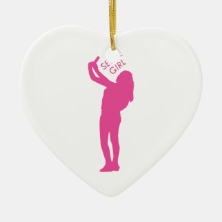 Selfie Girl Graphic Ceramic Heart Ornament