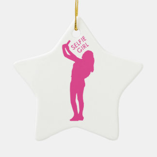 Selfie Girl Graphic Ceramic Star Ornament