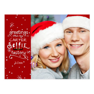 sELFie Greetings, Changeable Red Background Postcard