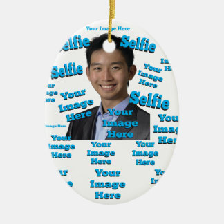 Selfie Photo Digital Image Template Ceramic Oval Ornament