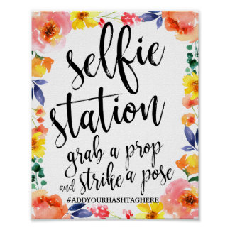 Selfie Station Floral Watercolor 8x10 Wedding Sign