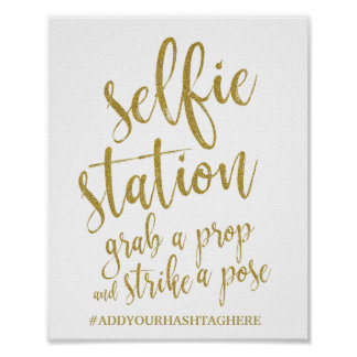 Selfie Station Gold Glitter 8x10 Wedding Sign