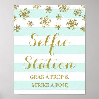 Selfie Station Sign Blue Stripes Gold Snow