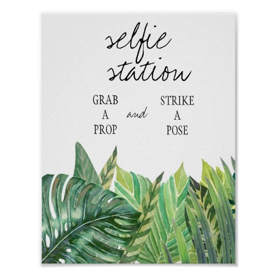 Selfie Station Sign - Greenery Wedding