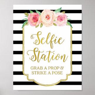 Selfie Station Sign Pink Floral Gold Black Stripes