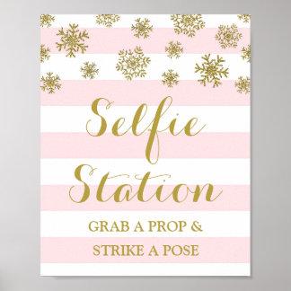Selfie Station Sign Pink Stripes Gold Snow