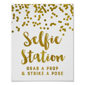 Selfie Station Wedding Sign Gold Confetti