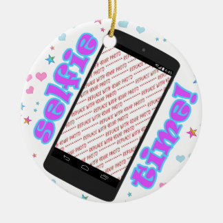 Selfie Time! Phone Shape Photo Frame Round Ceramic Ornament