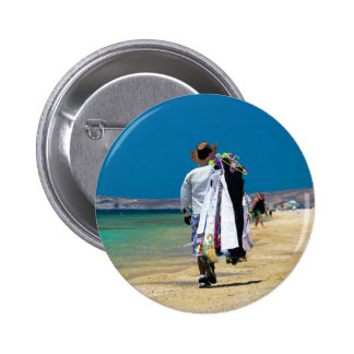Seller on the beach 2 inch round button