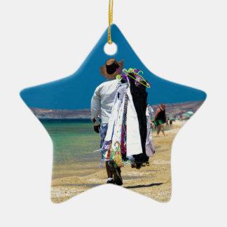 Seller on the beach ceramic star ornament