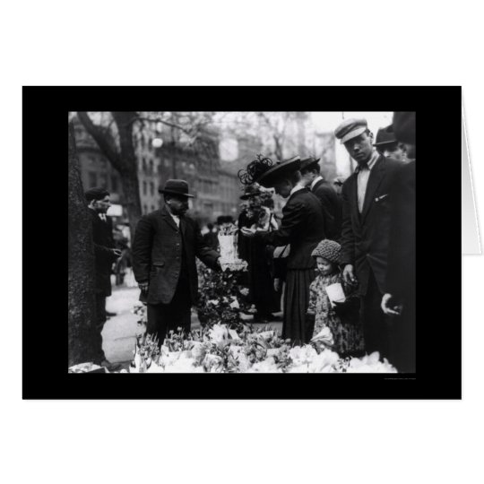 Selling Flowers on Easter in New York City 1912 Card