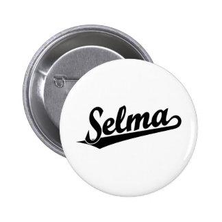 Selma script logo in black pinback buttons