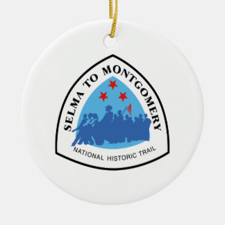 Selma to Montgomery Trail Sign, Alabama Round Ceramic Ornament