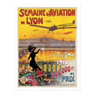 Semaine D'Aviation De Lyon France Vintage Poster Postcard