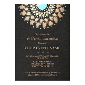 Sembler de toile d'or de noir fleuri élégant de carton d'invitation  12,7 cm x 17,78 cm