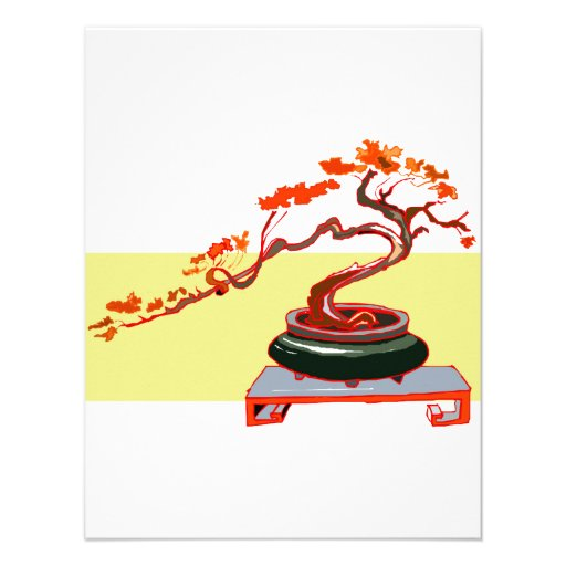 Semi Cascade Bonsai Fall Colours Graphic Image Invitation