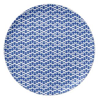 semi circle blue mosaic plate