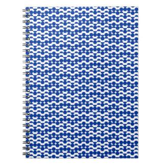 semi circle blue mosaic spiral notebook