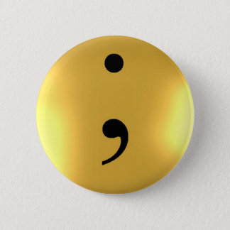 Semi Colon - Gold Metal 2 Inch Round Button