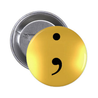 Semi Colon - Gold Metal 2 Inch Round Button