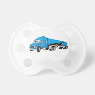 Semi Truck Blue Tanker Trailer Cartoon Pacifier
