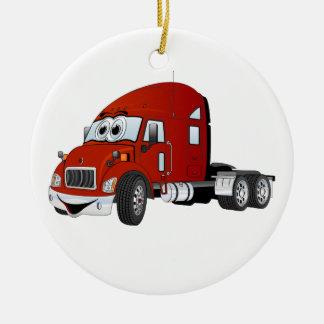 Semi Truck Cab Red Ceramic Ornament