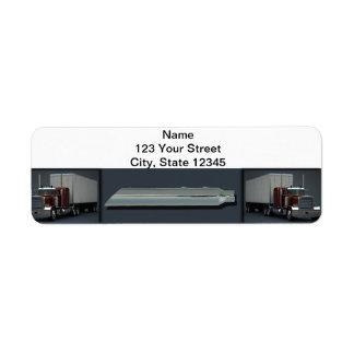 Semi Trucks on Steel Colored Return Address Label
