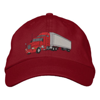 Semi with trailer embroidered hat