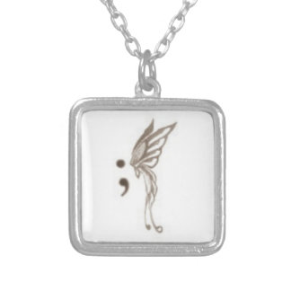 semicolon butterfly necklace