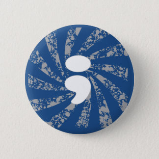 Semicolon on grunge rays 2 inch round button