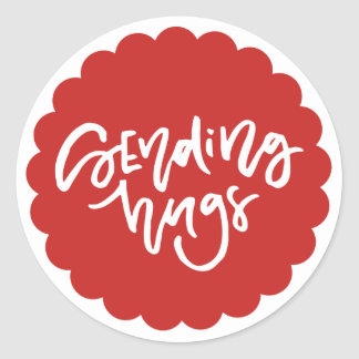 Sending Hugs Hand Lettered Red Scallop Edge Classic Round Sticker