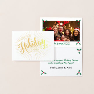Sending you Holiday Cheer l Holly Berries Photo Foil Card