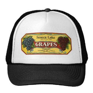 Seneca Lake Grapes Vintage Fruit Crate Label Art Trucker Hats