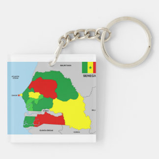 senegal country map flag Double-Sided square acrylic keychain