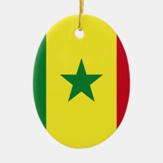 Senegal flag ceramic oval ornament