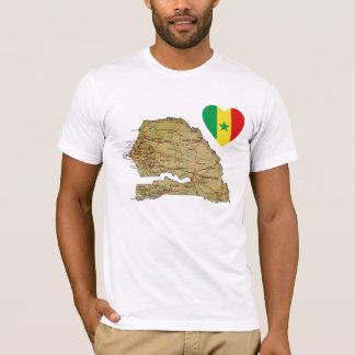 Senegal Flag Heart and Map T-Shirt