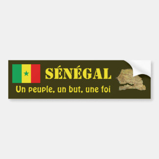 Senegal Flag + Map Bumper Sticker