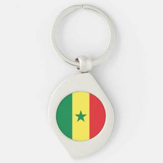 Senegal Flag Silver-Colored Swirl Keychain