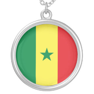 Senegal Flag Silver Plated Necklace