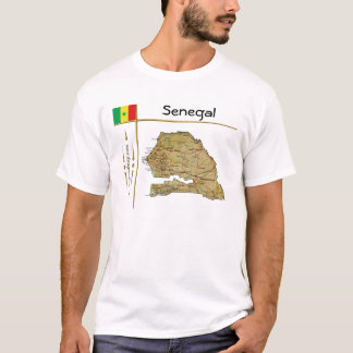 Senegal Map + Flag + Title T-Shirt