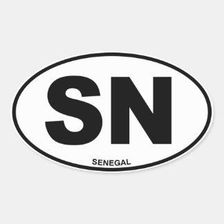 Senegal SN Oval ID Identification Code Initials Oval Sticker