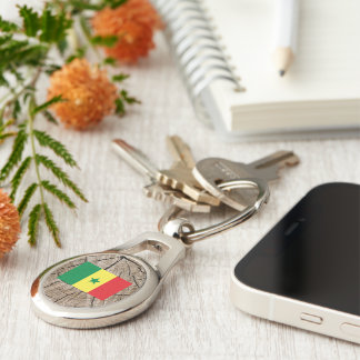 Senegalese flag on tree bark Silver-Colored oval keychain