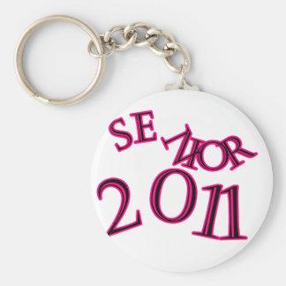 Senior 2011 Pink Basic Round Button Keychain