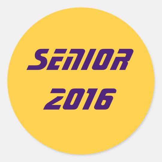 Senior 2016 classic round sticker