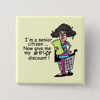 Senior Citizen Discount 2 Inch Square Button